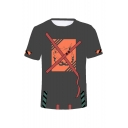 Summer Hot Fashion Comic Print Short Sleeve Round Neck Relaxed T-Shirt For Men