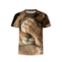 Summer New Stylish Short Sleeve Round Neck Lion Print Khaki T-Shirt
