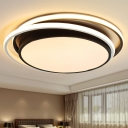 Drum LED Flush Light Fixture with Dual Ring Modernism Metal Lighting Fixture in Warm/White