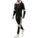 Men's New Fashion Colorblock Patched Long Sleeve Drawstring Hooded Zip Up Hoodie Sports Sweatpants Casual Two-Piece Set