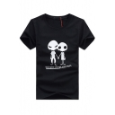Mens Cool Funny Skull Figure Letter WILL NEVER CHANGE Short Sleeve T-Shirt