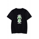 Funny Cartoon Alien Letter I Don't Believe In Humans Short Sleeve Graphic Tee