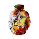New Fashion Cool Colored Lion 3D Printed Long Sleeve White Casual Loose Drawstring Hoodie with Pocket