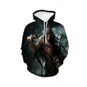 Halloween New Fashion Skull 3D Printed Black Drawstring Hooded Long Sleeve Pullover Hoodie
