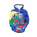 Christmas New Fashion Blue Starry Sky Painting Santa Claus 3D Printed Drawstring Hooded Long Sleeve Casual Pullover Hoodie