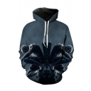 Hot Fashion Dark Grey Spider 3D Printed Drawstring Hooded Long Sleeve Casual Loose Pullover Hoodie