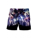 Mens Cool 3D Comic Figure Printed Drawstring Waist Loose Fit Beach Shorts