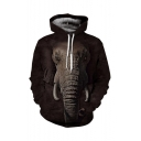 Hot Fashion Elephant 3D Printed Long Sleeve Loose Fit Dark Brown Pullover Drawstring Hoodie