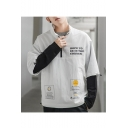 Guys New Style Letter HOPE TO BE IN THE CORNER Print Stand Collar Long Sleeve Casual Pullover Jacket