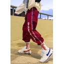 Guys Trendy Letter Printed Contrast Stripe Side Loose Fit Casual Sports Track Pants