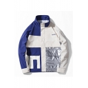 Men's New Stylish Long Sleeve Stand Collar Letter SUN SHINE Colorblock Print Zip Up Loose Casual Jacket
