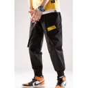 Men's Basic Fashion Letter Label Patch Multi-pocket Elastic Cuffs Casual Trendy Cargo Pants