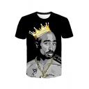 Hot Fashion Rapper Crown Figure Printed Black Short Sleeve T-Shirt