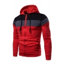Men's Popular Fashion Colorblock Patched Stripe Pattern Long Sleeve Casual Sports Zip Up Hoodie