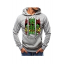Men's Popular Fashion Cool Zombie Printed Drawstring Hooded Long Sleeve Casual Sports Hoodie with Pocket