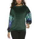 Womens New Stylish Crewneck Sequined Patched Long Sleeve Regular Fit Velvet Sweatshirt