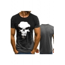 Mens Summer Cool Skull Printed Round Neck Short Sleeve Sport Fitted T-Shirt