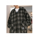 Guys New Style Fashion Plaid Pattern Long Sleeve Single Breasted Casual Loose Jacket Coat