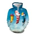 Christmas Santa Claus Sock 3D Printed Blue Drawstring Hooded Long Sleeve Casual Loose Hoodie