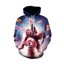 Hot Fashion Galaxy Pizza Dog 3D Printed Drawstring Hooded Long Sleeve Loose Pullover Hoodie