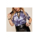 Summer Hot Sale Cutout V Neck Short Sleeve Tie Dye Print Casual BlueT-Shirt