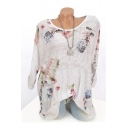 Womens Chic Floral Plants Print Round Neck Long Sleeve Loose T-Shirt