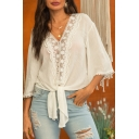 New Trendy Plain Long Sleeve V-Neck Lace Patched Bow Tide-Waist Holiday Camp White Blouse