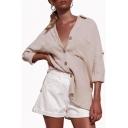 Summer New Arrival Simple Plain Plunge Neck Long Sleeve Button Down Linen Shirt