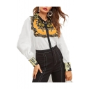 Summer Vintage Tribal Print V-Neck Puff Long Sleeve Casual Loose Chiffon White Blouse Top
