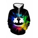 Hot Popular DJ Smile Face Colored Ink 3D Printed Long Sleeve Loose Fit Black Drawstring Hoodie