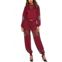 Hot Popular Plain Mesh Patchwork Print Long Sleeve Boat Neck Tops Drawstring Loose Fitted Pants Co-ords