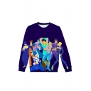 JOJO New Fashion Comic Figure 3D Printed Long Sleeve Round Neck Purple Sweatshirts