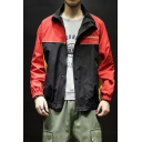 Guys New Style Fashion Letter Colorblock Pattern Long Sleeve Zip Up Loose Jacket Coat