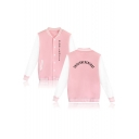 New Fashion Letter THSISNEVERTHAT Printed Stand Collar Button-Down Long Sleeve Baseball Jacket