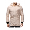 Men's New Trendy Simple Plain Long Sleeves Zip Up Casual Longline Hoodies Lamb Fur Coat