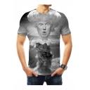 Summer Fashion Trump Explode Figure Print Round Neck Short Sleeve GreyT-Shirt