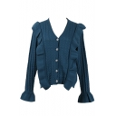 Ladies Popular Plain Ruffle Hem V Neck Long Sleeve Open Front Cardigan