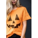 Women's New Stylish Halloween Pumpkin Print Short Sleeve Round Neck Cotton T-Shirt