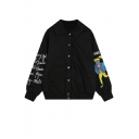 Popular Lapel Collar Single Breasted Embroidery Cartoon Girl Letter Long Sleeve Trench Coat