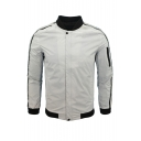 New Arrival Plain Stand Collar Long Sleeve Zip Placket Casual Baseball Jacket For Men