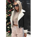 Winter Women's Notched Lapel Collar Open Front Long Sleeve Cropped Shearling Riders Jacket Coat