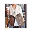 Elegant Lady Lapel Collar PU Leather Longline Shearling Vest Coat