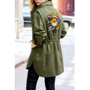 Floral Printed Stand Collar Drawstring Waist Longline Casual Coat with Pocket