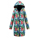 Women's Chic Floral Printed Long Sleeve Hooded Longline Shell Warm Down Coat