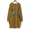 Lovely Elephant Print Open Front Drop Sleeve Cardigan with Pockets for Women