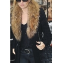 Women Hot Fashion Faux Fur Collar Zip Side Pocket Black Long Woolen Coat