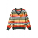 Womens Fashion Fawn Stripes Print V-Neck Long Sleeve Fitted Sweater
