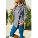 Women Plain Cowl Neck Long Sleeve Oblique Hook Button Thick Leisure Jacket Coat
