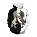New Stylish Black and White Colorblock Unicorn Animal 3D Printed Long Sleeve Loose Fit Drawstring Hoodie