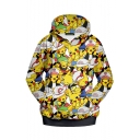 Hot Popular Comic Figure Printed Long Sleeve Unisex Yellow Casual Hoodie